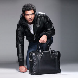Black colour hooded leather Jacket