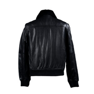 Black colour bomber jacket with fur collar
